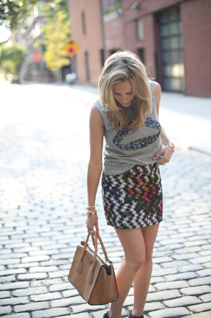 NYFW fall fashion week outfit  - what to wear - Markus Lupfer Exclusive Sequin Lips Tank, TopShop Blur Floral Print Pelmet Skirt on FashionableHostess in West Village