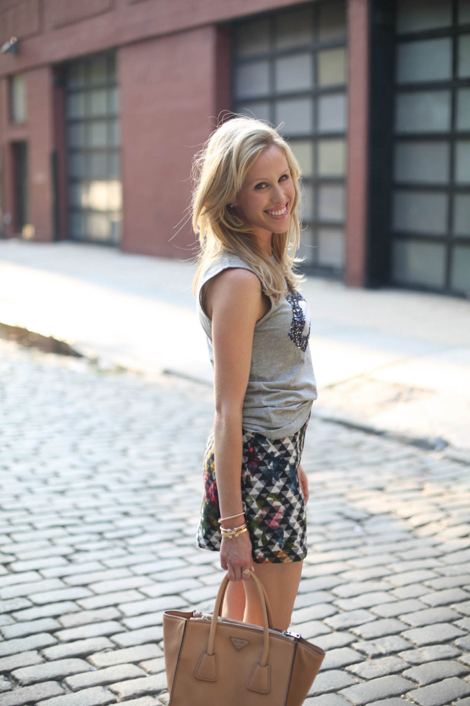 NFW Fall Street Style fashion week outfit - Markus Lupfer Exclusive Sequin Lips Tank, TopShop Blur Floral Print Pelmet Skirt on FashionableHostess