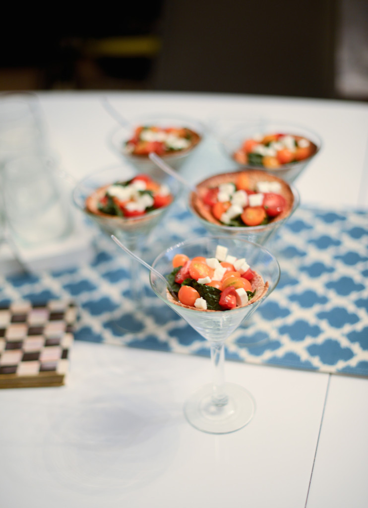 Appetizer served in Martini Glasses: Kale Tomato and Feta Healthy Appetizer by Be WellwithArielle.com