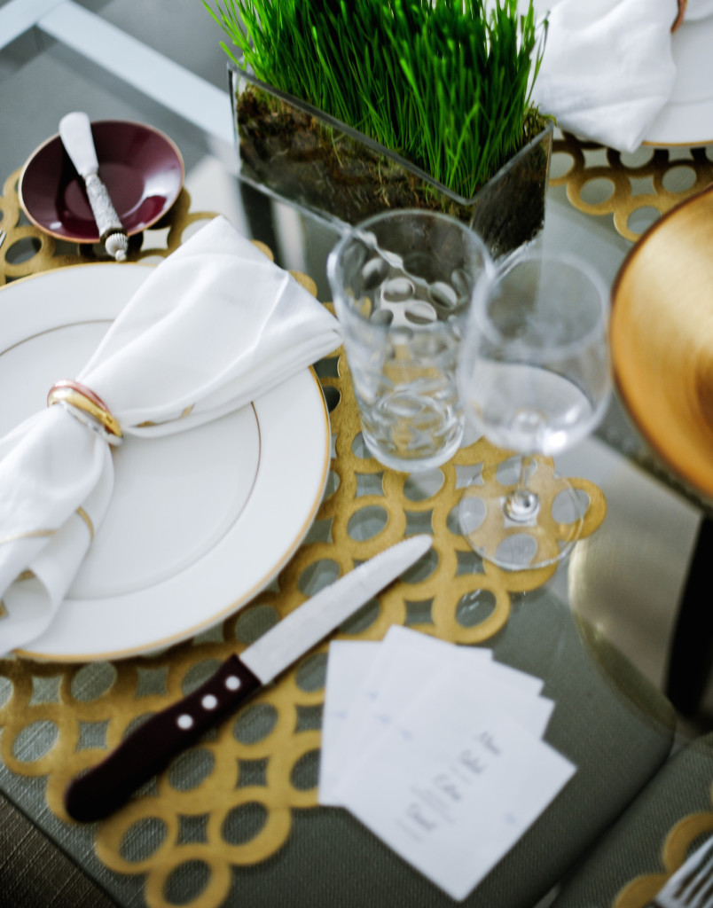 Riedel Glassware and Wheatgrass Centerpieces compliment the Fall Gold Mod Table design