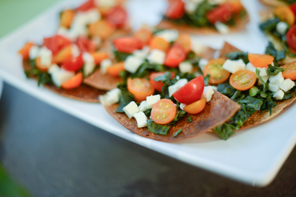 Kale, Tomato, and Cheese Bite Sized Appetizers - Kale and Tomato Pizzettes