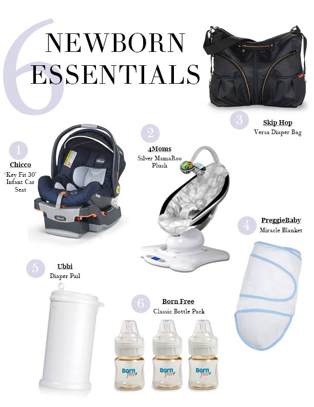 Newborn Baby Essentials, Chicco Key Fit 30 Infant Car Seat,, 4moms Silver MamaRoo Plush, SkipHop Versa Diaper Bag, Ubbi Diaper Pail, Preggie Baby Miracle Blanket, Born Free Newborn Bottles