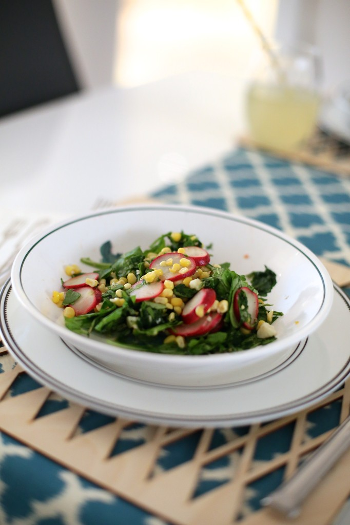 Arugula Corn and Radish Salad Recipe Cooing Planit Eat Fresh Challenge 4