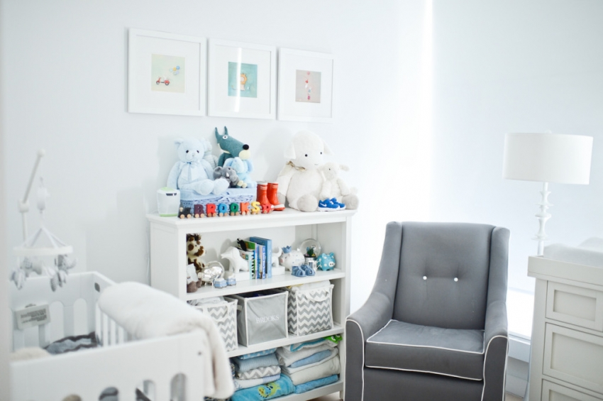 make the room his own i started by ordering custom grey and white chevron totes with his name embroidered at pottery barn kids to organize his baby - Pottery Barn Babies Room
