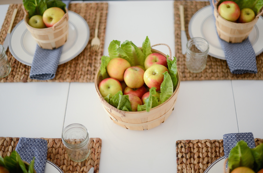 Apple filled Orchard Basket centerpiece
