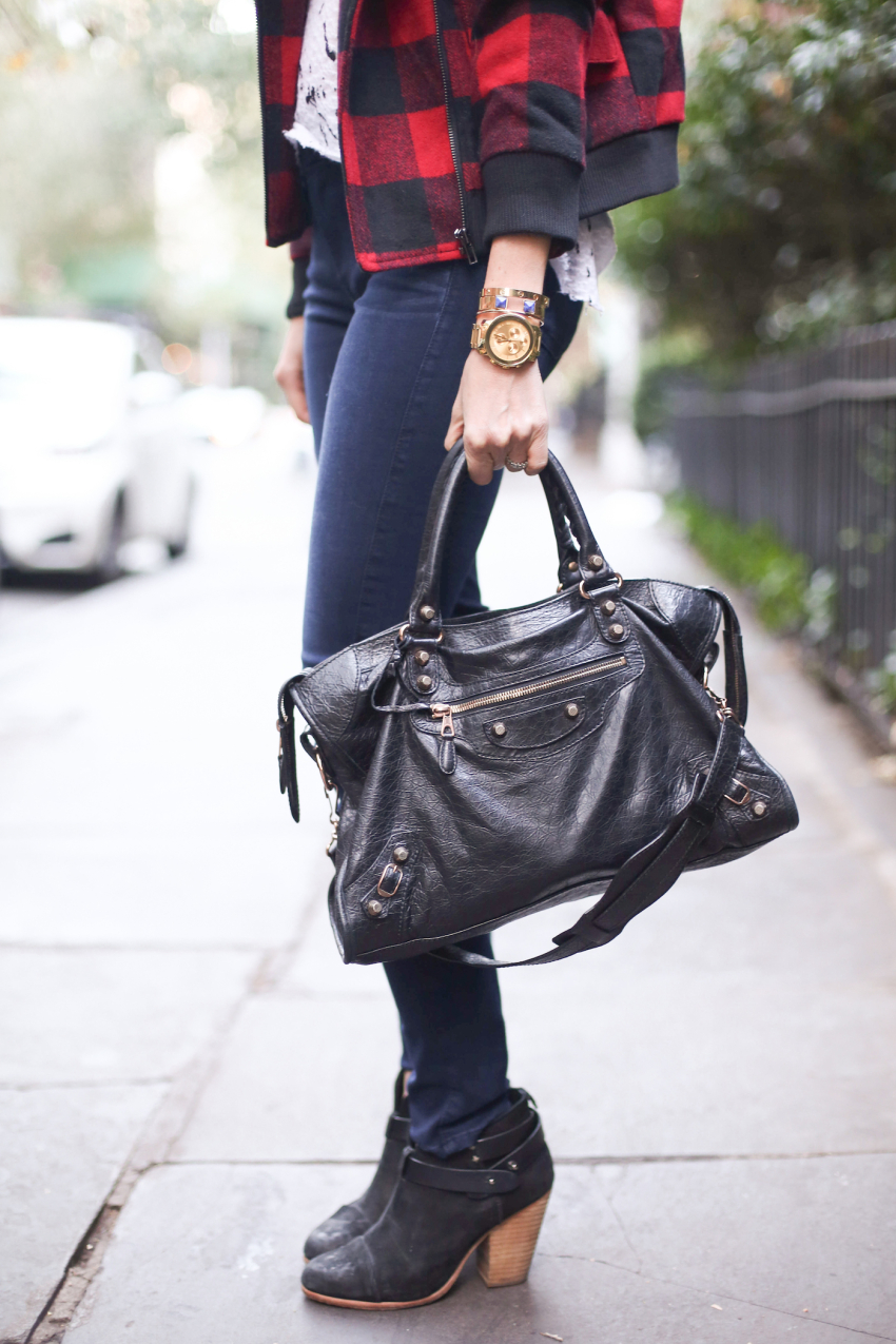 Black Balenciaga Bag and Gold Accessories