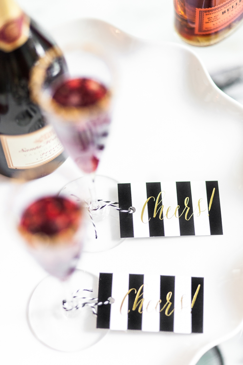 Cheers Drink Tags for Holiday Parties on Fashionable Hostess