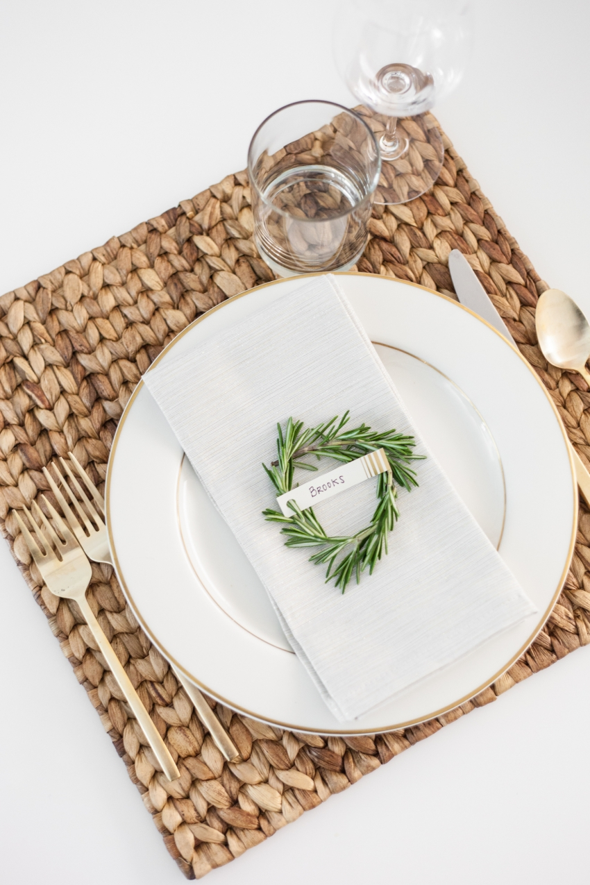 DIY Crafts and DIY Place card settings for the Holidays using Rosemary + gold silverware