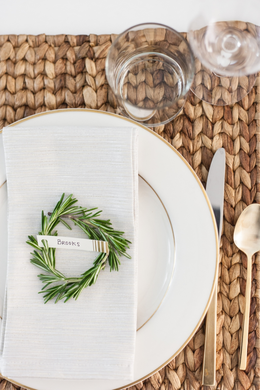 DIY Crafts and DIY Place card settings for the Holidays using Rosemary