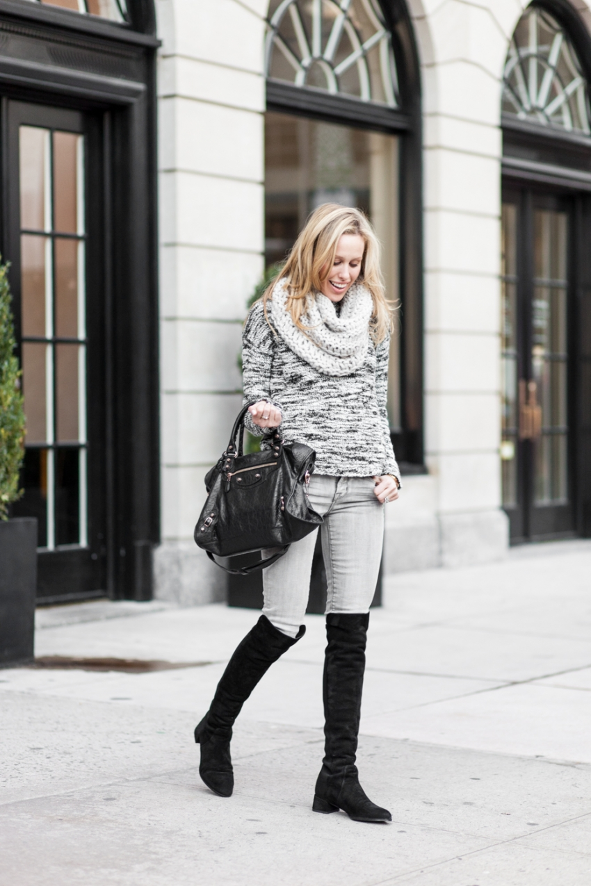 Fashionable Hostess winter Outfit Winter Knits - Alice & Olivia knit sweater, J Brand grey jeans, Stuart Weitzmann The Reserve Knee high Boots, Black Balenciaga bag