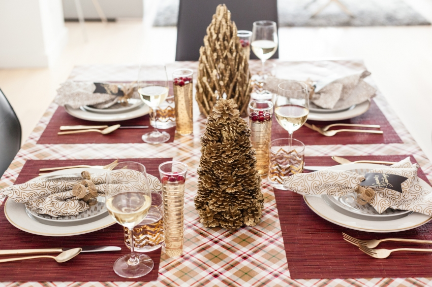 Holiday Table with Plaid Red Table cloth