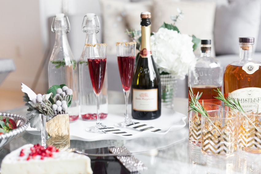 Host a Holiday Cocktail Party Ideas - Champagne Holiday Cocktails, Winter Flowers, and Bourbon Holiday Drinks