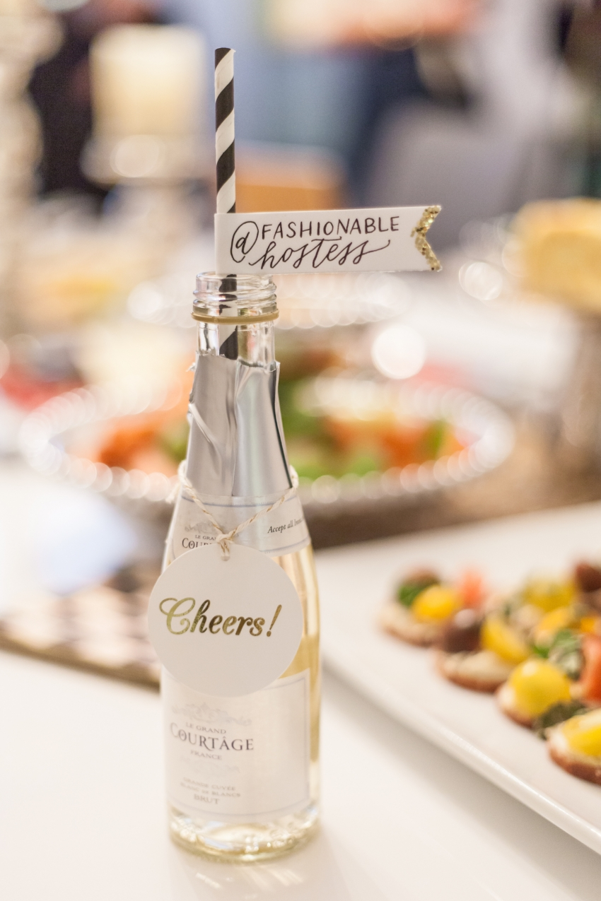 Le Grand Courtage Champagne mini bottles with Jenny Bevlin cheers drink tags and custom black and white striped straws from Sheppardley