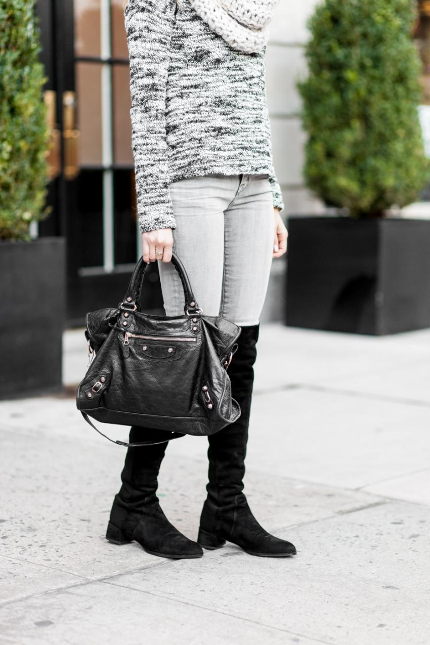Stuart Weitzmann knee high black suede boots and black Balneciaga tote bag