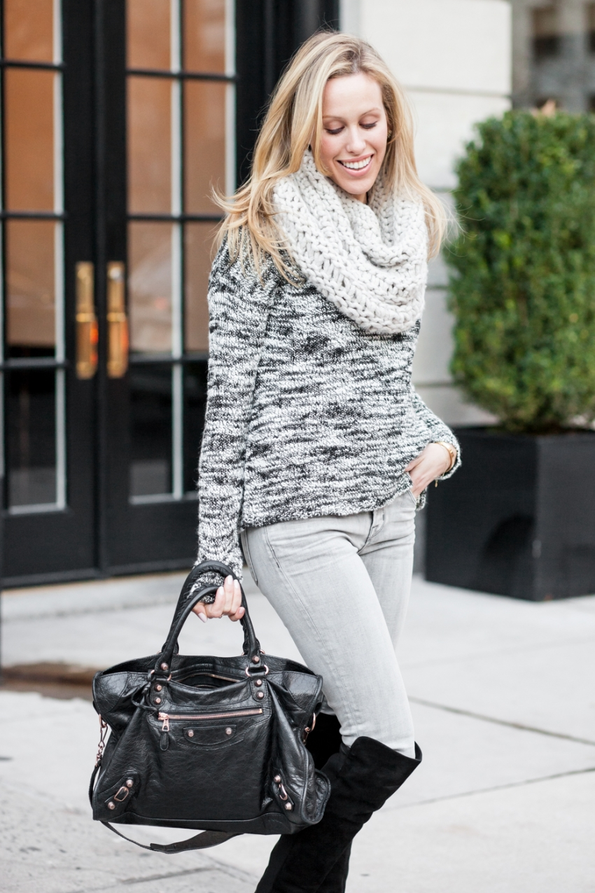 Weekendwear Winter Knits - Alice & Olivia knit sweater, J Brand grey jeans, Stuart Weitzmann The Reserve Knee high Boots, Black Balenciaga bag