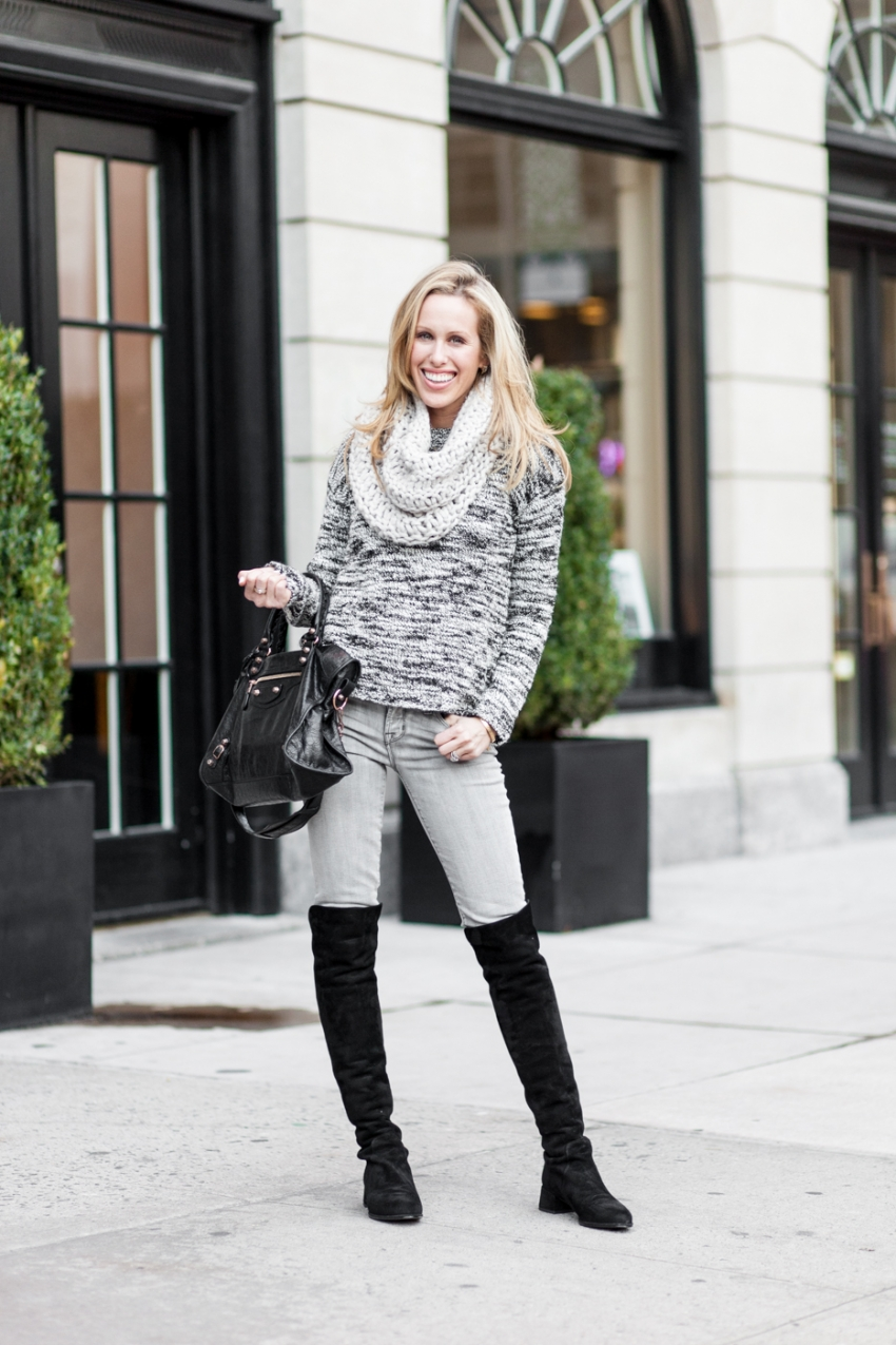 Winter Knits - Alice & Olivia knit sweater, J Brand grey jeans, Stuart Weitzmann The Reserve Knee high Boots, Black Balenciaga bag