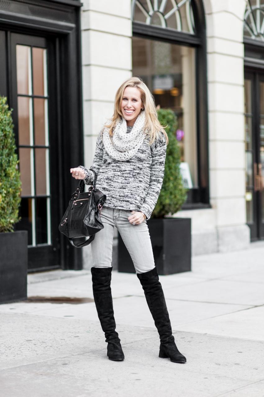 Winter Knits - Alice & Olivia knit sweater, J Brand grey jeans, Stuart Weitzmann The Reserve Knee high Boots, Black Balenciaga bag