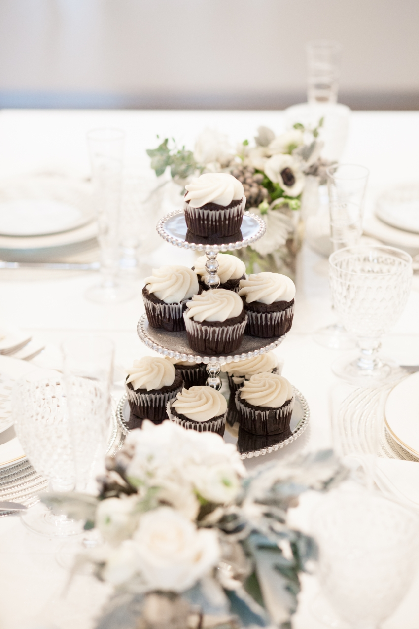 Cupcake Tower on Winter White Table by Fashionable Hostess