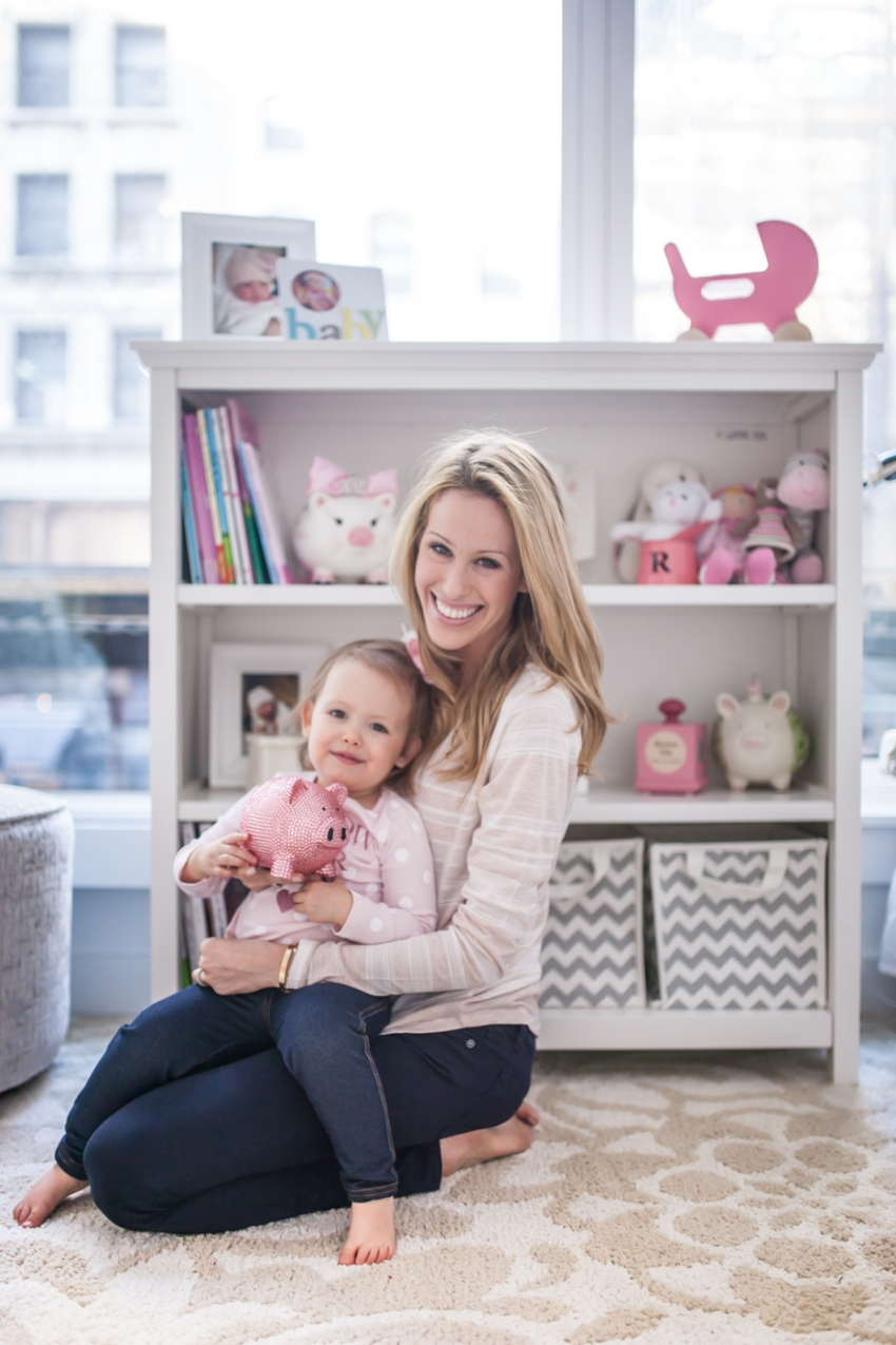 Fashionable Hostess and Baby Reese in Baby Girl Nursery