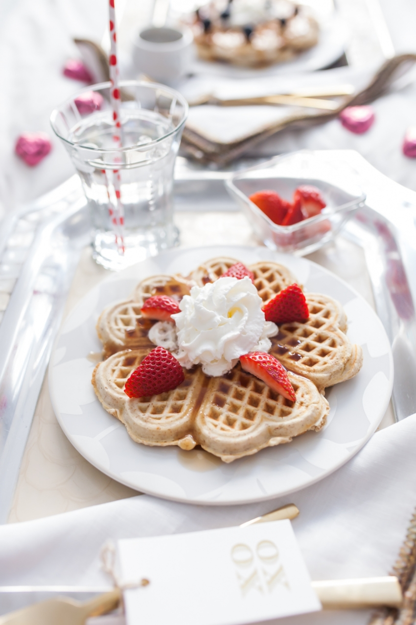 Heart Shaped Waffles for Valentine's Day Breakfast in bed by Fashionable Hostess