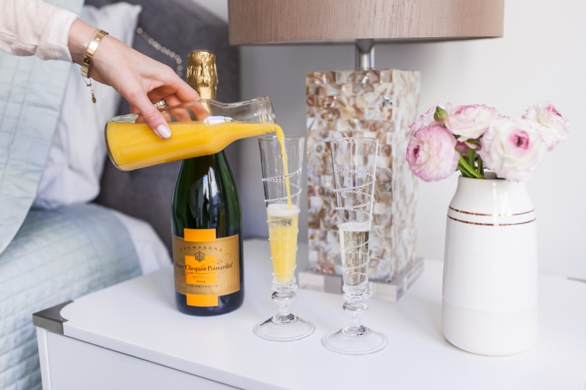 Mimosas for breakfast for Valentine's Day by Fashionable Hostess