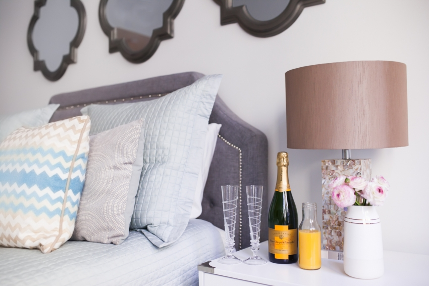 Mimosas in Bed for Valentine's Day by Fashionable Hostess