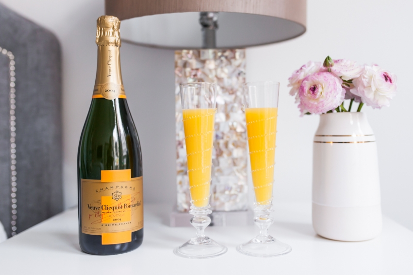 Mimosas with Veuve Clicquot Champagne for Valentine's Day by Fashionable Hostess