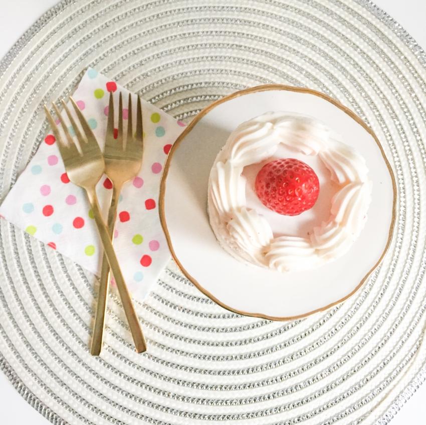 Strawberry Shortcake and gold serveware