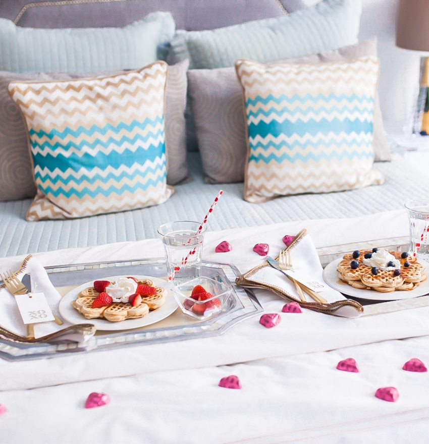 Valentines Day Breakfast in Bed Display by Fashionable Hostess