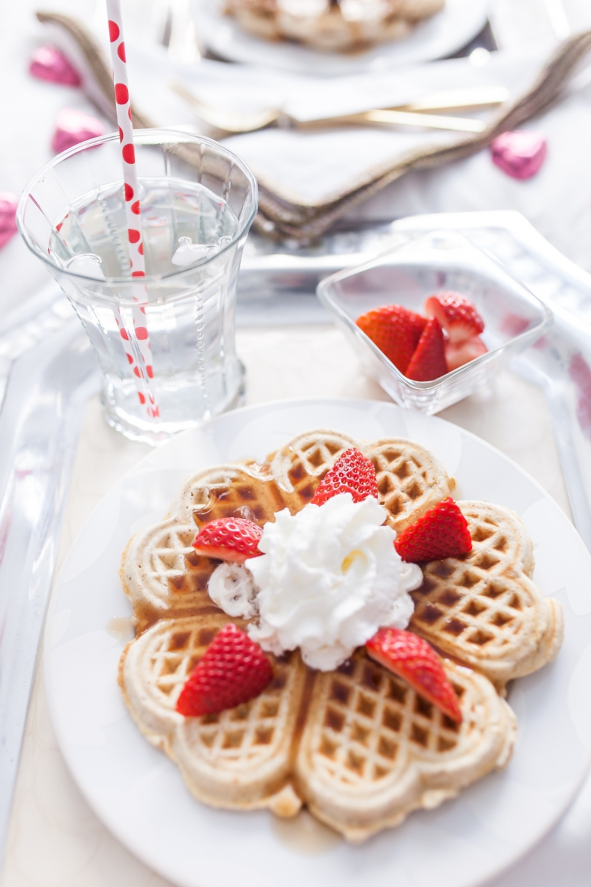 Waffles With Whipped Cream And Strawberries For Valentineu0027s Day Breakfast  In Bed By Fashionable Hostess ...