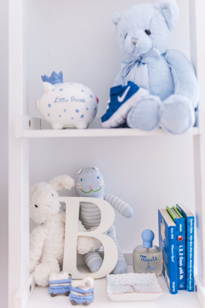 Nursery shelves fashionable hostess for Baby boy mural ideas