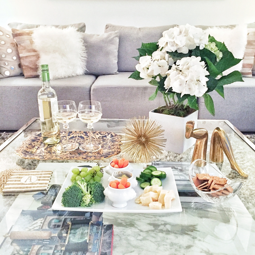 Fashionable Hostess Coffee Table Display for Happy Hour on Instagram