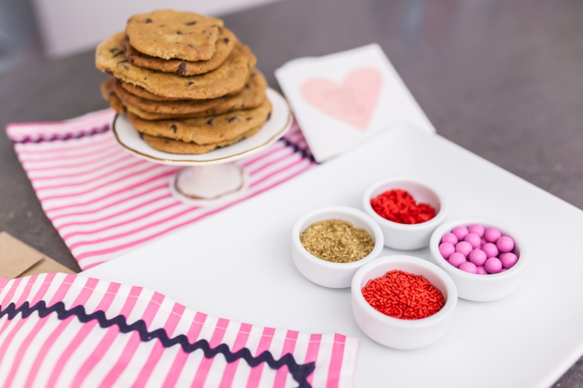 Stacked Chocolate Chip Cookies + Valentines Day Sprinkles on Fashionable Hostess