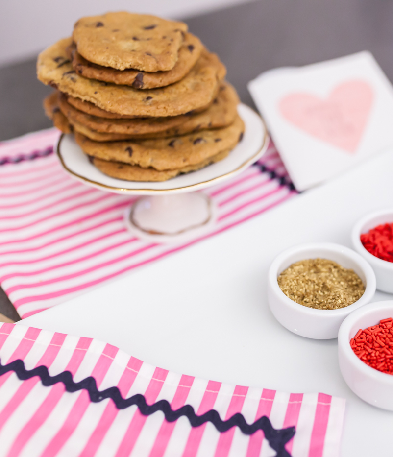 Tons of Chocolate Chip Cookies + Valentines Day Sprinkles on Fashionable Hostess