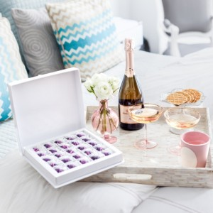 Classsic Easter Hostess Gifts, Santa Margherita Prosecco, Maggie Louise Confections Easter Chocolates, Laduree Pink Candles