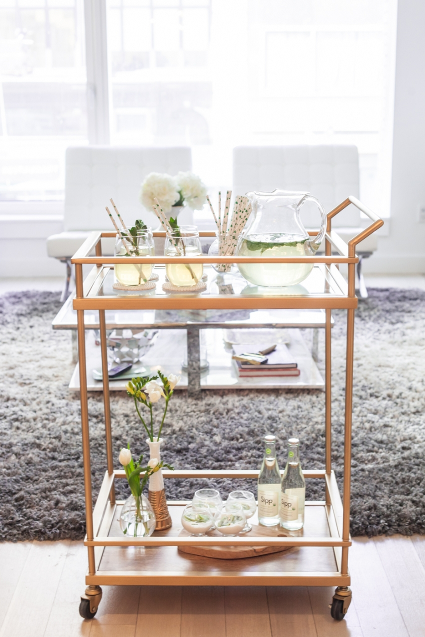 Host a St Patricks Day Party with your gold bar cart by Fashionable Hostess