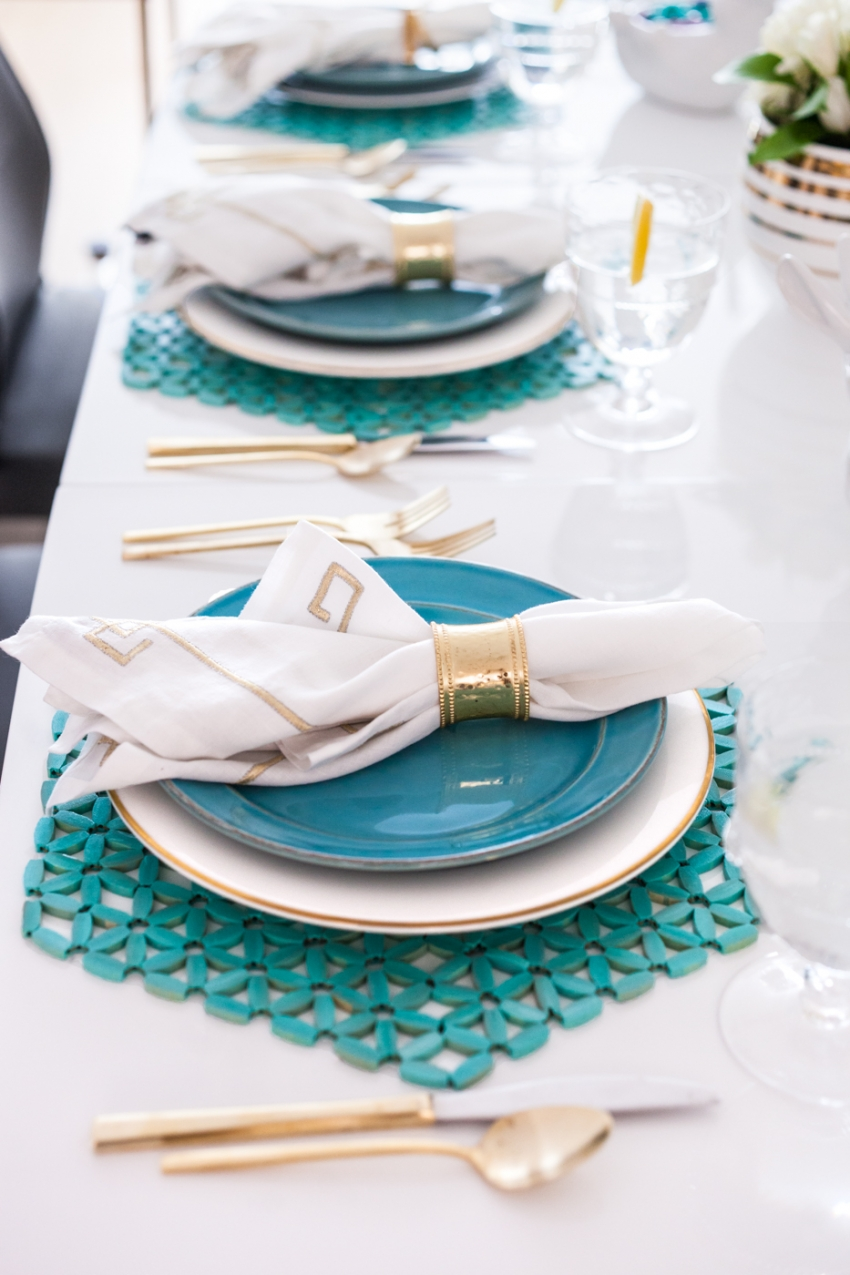 Pottery barn aqua plates, West Elm gold flatware, Pier1 gold napkin rings