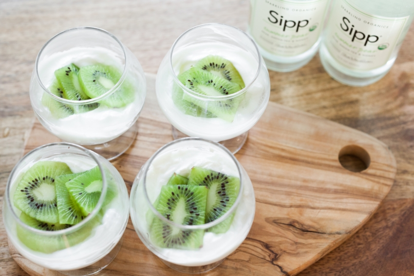 St Patricks Day Party food - yogurt with kiwi parfait by Fashionable Hostess