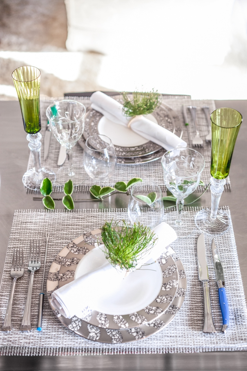 Tablescape - plates - Michael Wainwright - napkins - Sferra - napkin rings - Deborah Rose - water glasses - Riedel - wine glass - Baccarat - silverware - Wedgewood