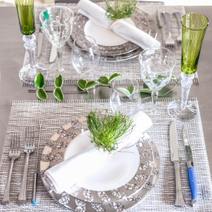 Tablescape - plates - Michael Wainwright - napkins - Sferra - napkin rings - Deborah Rose - water glasses - Riedel - wine glass - Baccarat - silverware - Wedgewood  copy
