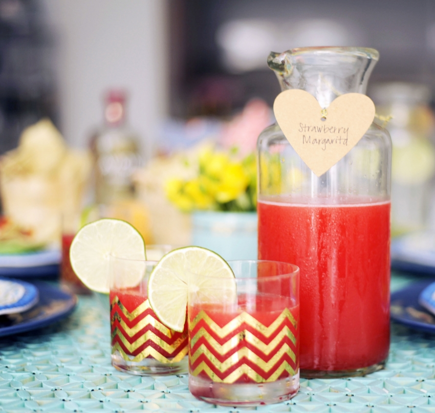 Blended Strawberry Margaritas Recipe for your cinco de mayo party