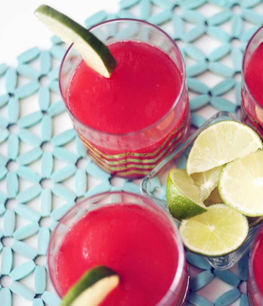 Blended Strawberry Margaritas with lime copy