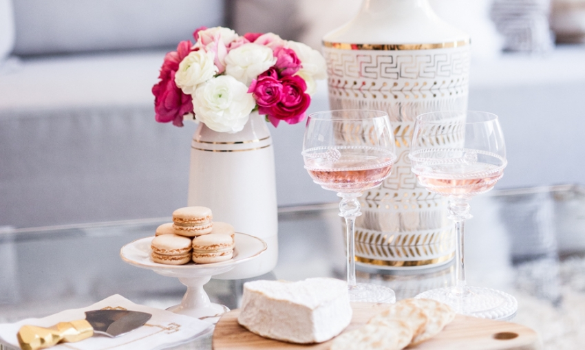 Host a night with rosé wine by FashionableHostess.com