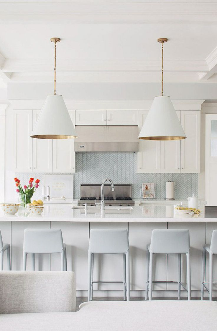 White Kitchen Inspiration with Baby Blue Houndstooth Backsplash