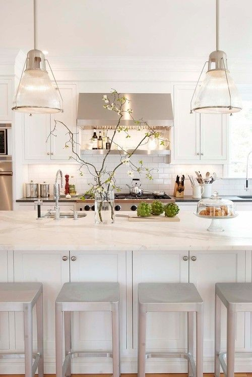 White Kitchen with Silver Accents