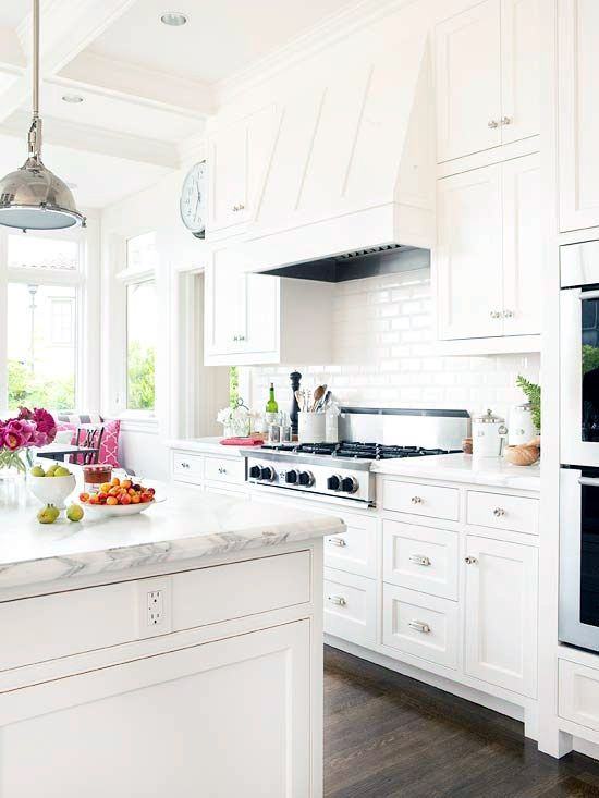White Kitchen with White Hooded Oven