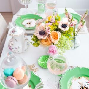 Spring Flowers + Macarons + Rose wine