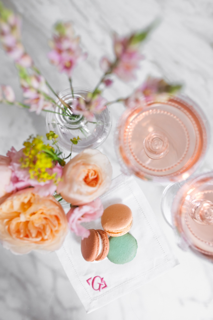 Rose wine and Macarons for your tea party