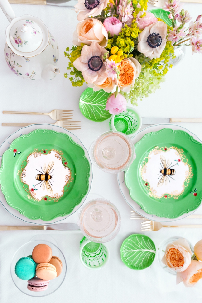 Anthropologie Bee Plates, West Elm gold flatware
