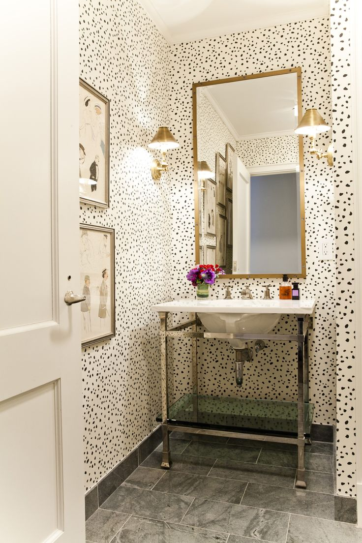 Powder Room Black and White Polka Dot Wallpaper Inspiration